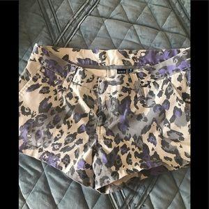 Hurley leopard denim shorts